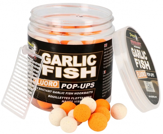 Starbaits Plovoucí boilies Garlic Fish Fluo Pop UP Up 80g 14mm